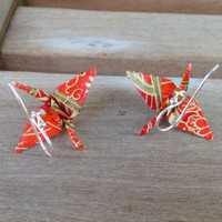 Origami Earrings - Red Gold Crane Earring, Origami Jewelry, Red dangle earrings, bright red earrings, Asian Earring, red and gold