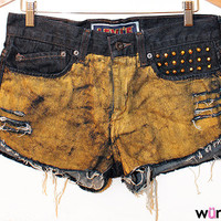 One-of-a-kind Gold Digger Shorts (gold painted, studded, high-waisted shorts)