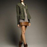 Haute Hippie-Military Merino Cardigan, Mama Ribbed Tee & Studded Leather Miniskirt-Bergdorf Goodman