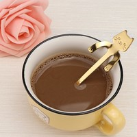 1 PCS 4 Colors Available Stainless Steel Cat Coffee Spoon Dessertspoon Tableware Kitchen Supplies Tableware Kitchen Tool