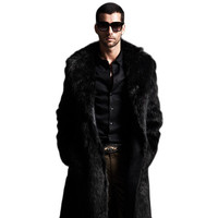 Men Faux Fur Coat Winter Plus Size Faux Fur Coat Men Parka Jackets Full Length Leather Overcoats With Collar Long Fur Coat Man