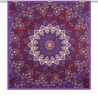 Psychedelic Indian Star Mandala Tapestry Throw Art