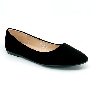 Women's Black Pointed Toe Flats