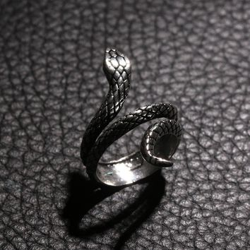 1 PC Fashion Snake Rings For Women Plating Silver Heavy Metals Punk Rock Ring Vintage Animal Jewelry