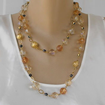 Crystal 2 Strand Necklace Gold Foiled Heavily Faceted Topaz Glass Crystals Jewely