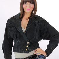 Suede fringe jacket Black suede coat leather cropped 80s Leather FRINGE Coat 1980s Vintage Hipster Oversize 90s Southwestern Biker S M