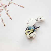 Free shipping Animal pin bunny rabbit  Bunny and guitar, gift under 25