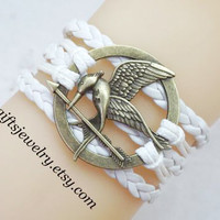 Mocking,bird,jay bracelet,Burning Girl,hunger bird,games jewelry,white,charm,Leather Bracelet,Friendship Gift