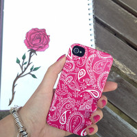 Pink Paisley Hard Cell Phone Case iPhone 3 3GS 4 4S 5 5S 5C Samsung Galaxy S2 S3 S4 Mini S5 Sony Xperia Z Blackberry Z10 Curve Bold HTC