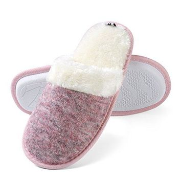Aerusi Womens Cozy Woven Plush Fleece Lined Memory Foam Slip on Clog Houser Slipper