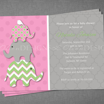 Stacked Elephants Baby Shower Invitation - Pink Green - DIY Printable
