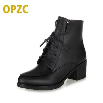 Plus size 35-43 # winter women's boots 2017 new genuine leather women boots warm bare boots casual Martin boots shoes women