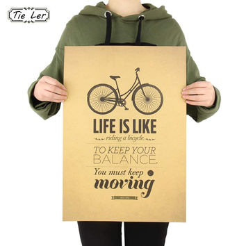 TIE LER Life is Like Riding a Bicycle Poster Cafe Bar Home Decor Retro Kraft Paper Wall Sticker 51.5x36cm