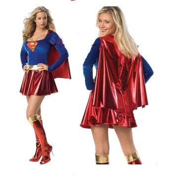 Supergirl Costume Cosplay Super Woman Superhero Sexy Fancy Dress Girls Superman Hallow