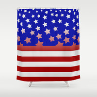 Stylised USA flag Shower Curtain by Pedro Vale