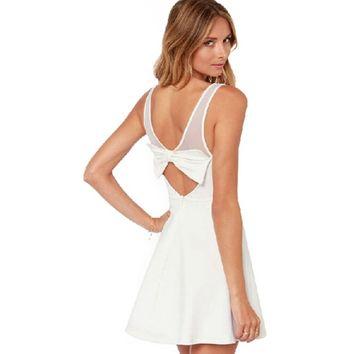 Ivory White Mesh Patchwork Back Bow Sleeveless Dress