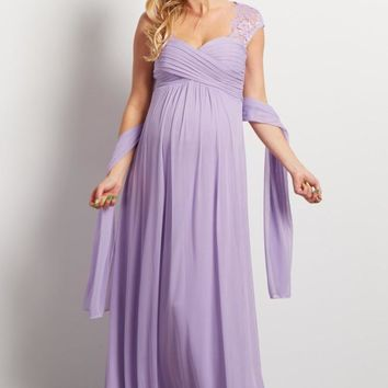 Copy of Forever After Chiffon and Lace Evening Gown - Lilac