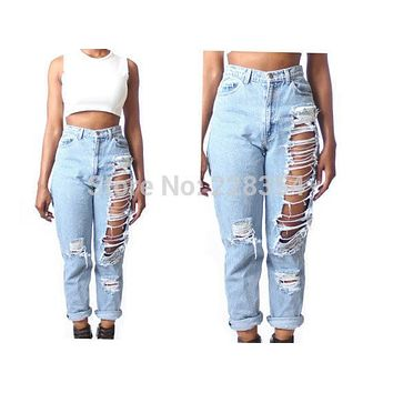 2015 High Waist Destroyed Boyfriend BF Jeans Ripped denim pants for women feminino feminina