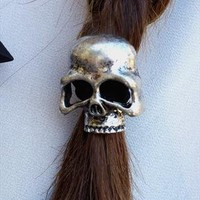 Silver Skull Hair Tie from Haute1