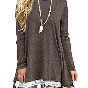 Afibi Women Lace Long Sleeve ALine Swing TShirt Loose Tunic Top Blouse