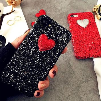 Fashion 3D DIY Glitter Powder Love Heart Case For iphone 7 6 6S Plus SE 5 5S Cover Cute Bling Sparkling Hard Plastic Phone Cases