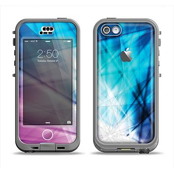 The Vibrant Blue and Pink HD Shards Apple iPhone 5c LifeProof Nuud Case Skin Set