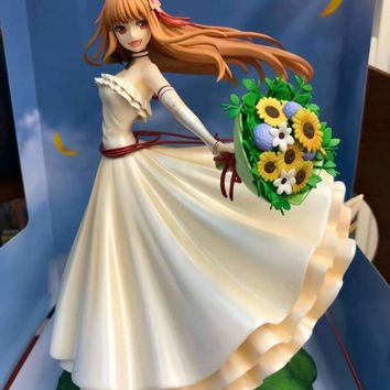 24cm Anime Action Figure Marchant Mcats Spicy Wolf Spice and Wolf Holo White Weeding Dress Ver Model Beauty Girl Decorate Doll