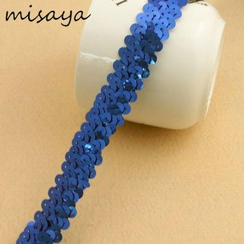 Misaya 10Yards/Lots Multicolor Sequin Elastic Stretch Lace Trim Mesh Lace Ribbon Fabric,DIY Waistband Home Wedding Decoration