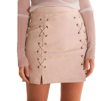 High Waist Tight Lace Up Women Pencil Suede Skirt