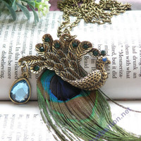 Pretty retro copper blue crystals peacock with by toofashion2010