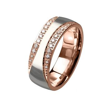 Shimmering Path - Unisex Rose Gold Two Tone Stainless Steel Ring With Clear CZ Stones