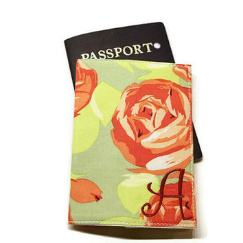 Gorgeous roses fabric monogrammed passport case, holder, cover. Sage and rose. Personalized gift idea.