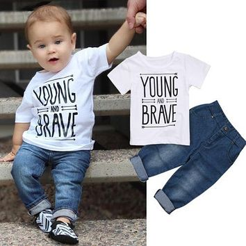 """Young And Brave"" Denim Clothing Set"