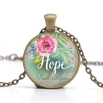 Love/Hope/Dream/Faith/Believe/Wish Vintage Necklace Antique Bronze Chain Glass Cabochon Pendant Necklace for Women Quote Jewelry