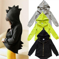 Children in the spring and autumn season sport coats boy dinosaur modelling hooded jacket kids recreational coat girl jacket