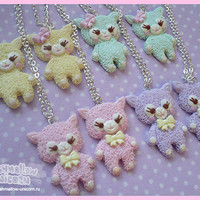 Pastel kawaii alpaca necklace cute fairy kei sweet lolita style