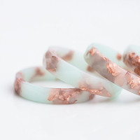 Pastel Mint Resin Ring Rose Gold Flakes Small Faceted Ring OOAK pastel mint peach summer minimalist jewelry