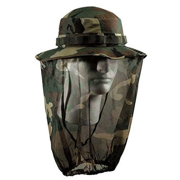 Rothco Woodland Camo Mosquito Netting Boonie Hat Large 7 1/2