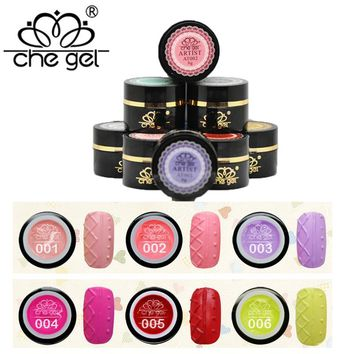 CHE GEL Beautiful Painting  12 Colors 6 ml 3D Sweater   Reliefs  Hook Line Nail Gel polish for Manicure ZJY077