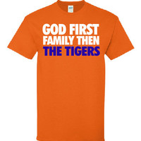 God first Family then Tigers custom screen print