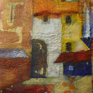 Abstract Cityscape Painting Original Watercolor Batik on Rice Paper