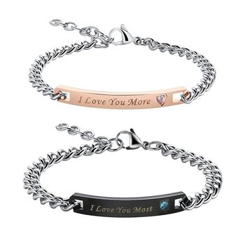 His Hers Couple Bracelet Titanium Stainless Steel Chain Matching Set Anniversary Gift