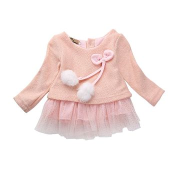 Infant Toddler Children Cute Newborn Baby Girls Bow Tulle Tutu Party Dress Clothes Casual Outfits