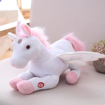 Electric Music Unicorn Plush Toy Stuffed Animal Toy Flying Horse Led Light Luminous Unicorn Dolls Kids Birthday Gifts 28cm