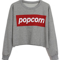 ROMWE | Popcorn Print Grey Sweatshirt, The Latest Street Fashion