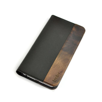 Wallet iPhone 6 Case, iPhone 6s Folio Case, Walnut Wood Folio Case - FOL-WB