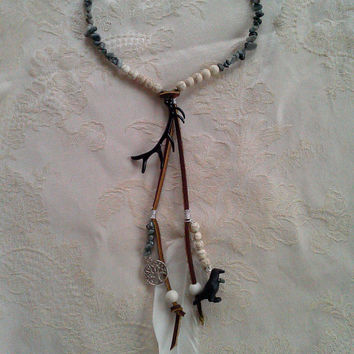 Primal Offering A Handmade Womens Choker Necklace Woodland Forest Jewelry w Stones Feather Leather Silver Wire Antler & Black Raven Crow