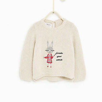 Baby Girl Beige Little Rabbit O-Neck Pullover Sweater Kid's Long Sleeve Knitted Cardigan