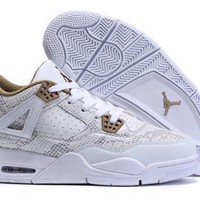 Cheap Nike Air Jordan 4 Retro Men Shoes Snake Skin White Gold