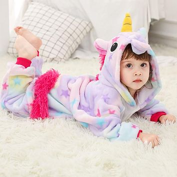 Girls Boys Winter Kigurumi Pajamas Unicorn Cartoon Anime Animal Onesuits Sleepwear Coral Fleece Warm Jumpsuit  Children Pajamas